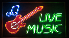 """""""live music"""" inscription and red guitar symbol"""